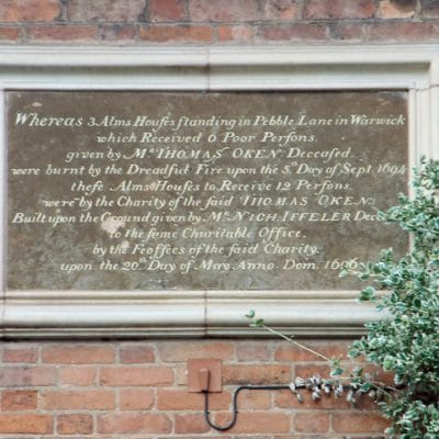 17th Century Plaque on Castle Hill Almshouses