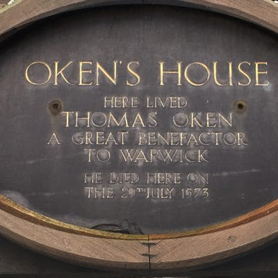 The plaque on Oken's House, Warwick