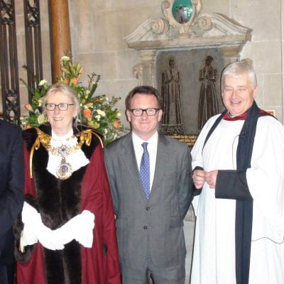 (left to right) chairman of Thomas Oken Charity Clive Mason, Warwick mayor Coun Mandy Littlejohn, Warwick & Leamington MP Chris White and the Rev Vaughan Roberts at St Mary's Church, Warwick, standing in front of the commemorative plaque to Thomas Oken.